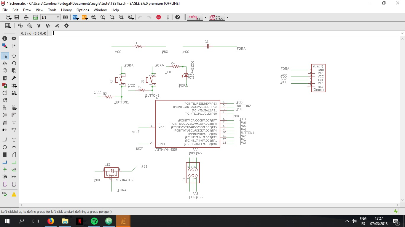 Carolina Portugal Week 6 Component Circuit Drawing Program Photo Schematic Software After I Add All The Components A Connection And Renaming Ti Was Able To Connect Them