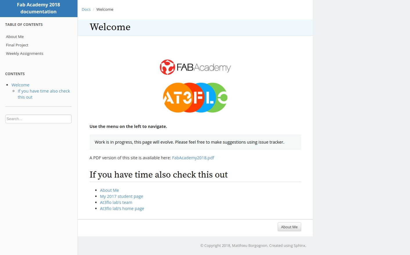 Using sphinx to deploy a documentation site — Fab Academy