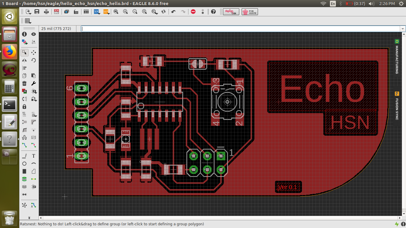 Design Workflow Of Echo Hsn Board Graphic Technological Theme And Circuit I Used 3 0 Ohm Resistors As Jumpers Because Small Pcb Layout