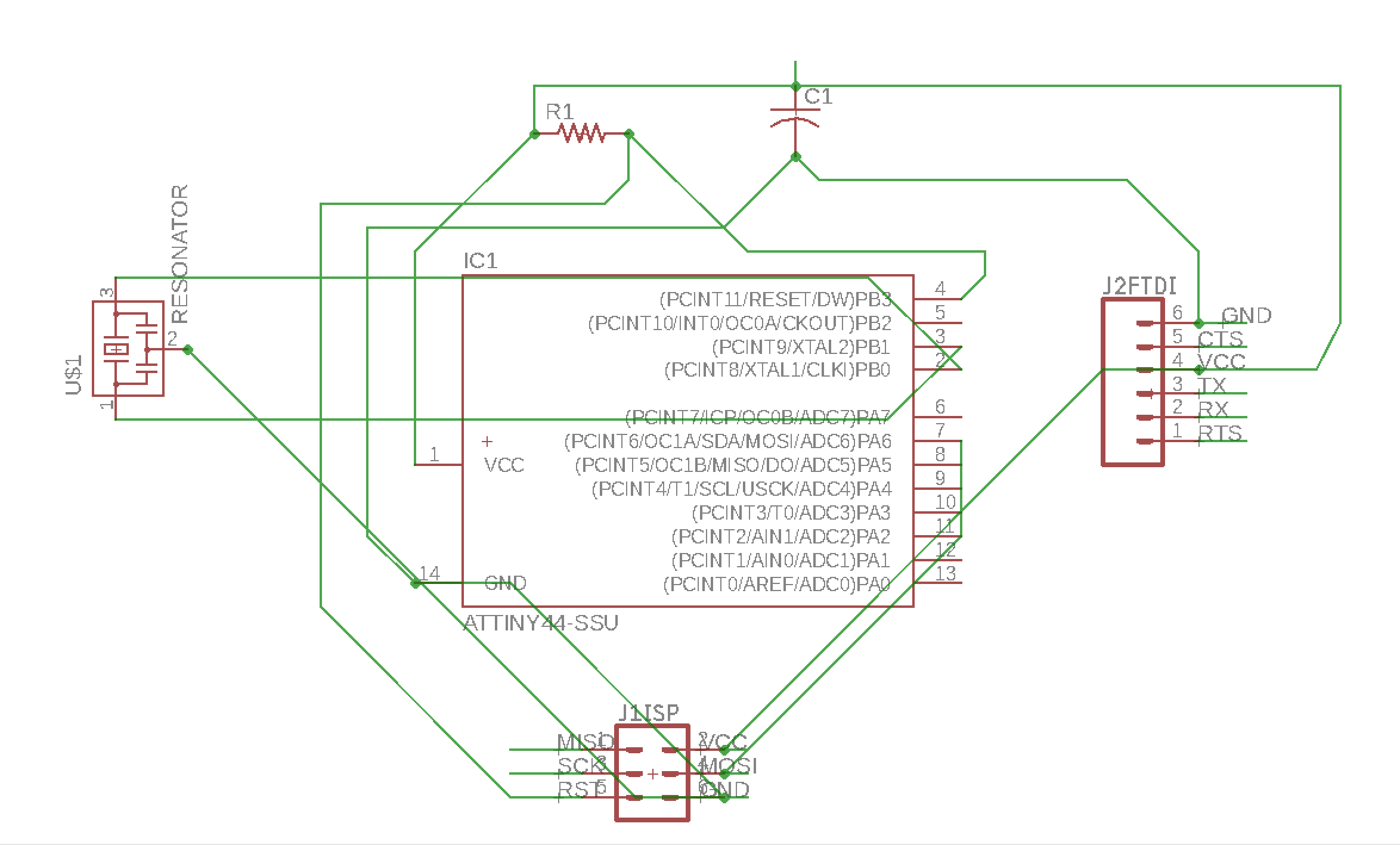 Week 7 Redraw The Echo Hello World Board With Extra Components Attiny2313 Based Lan Cable Tester Schematic Then I Added New A Switch And Led There Are Two Free Pins On Attiny Pb2 Pa7 So Ill Connect Each Of These To One