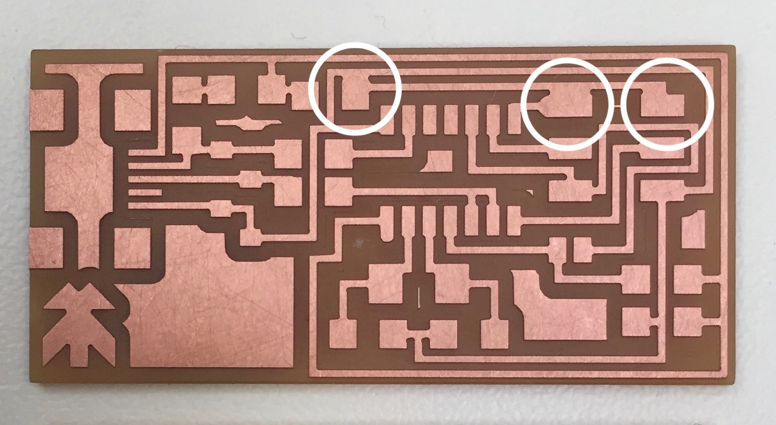 Week 5 Making A Pcb Andrew Sleighfab Academy 2018 Of Parts On The Circuit Board With Copper Traces Beneath Trace Errors