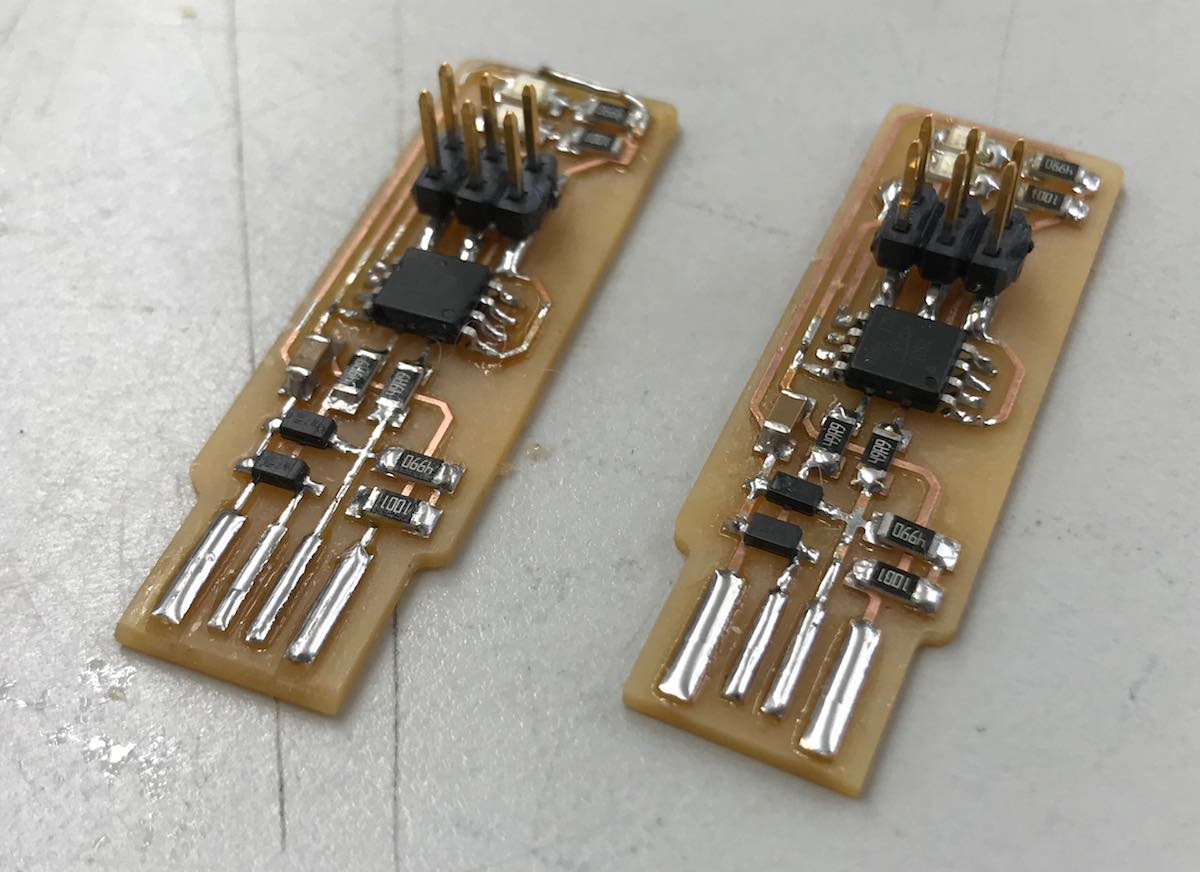 Fab Academy 2018 Will Rudolph Since This Was The First Circuit Board I Designed Made Some Mistakes So Two Boards Assuming Id Make While Soldering But Surprisingly One Came Out Better Than Second Already Had
