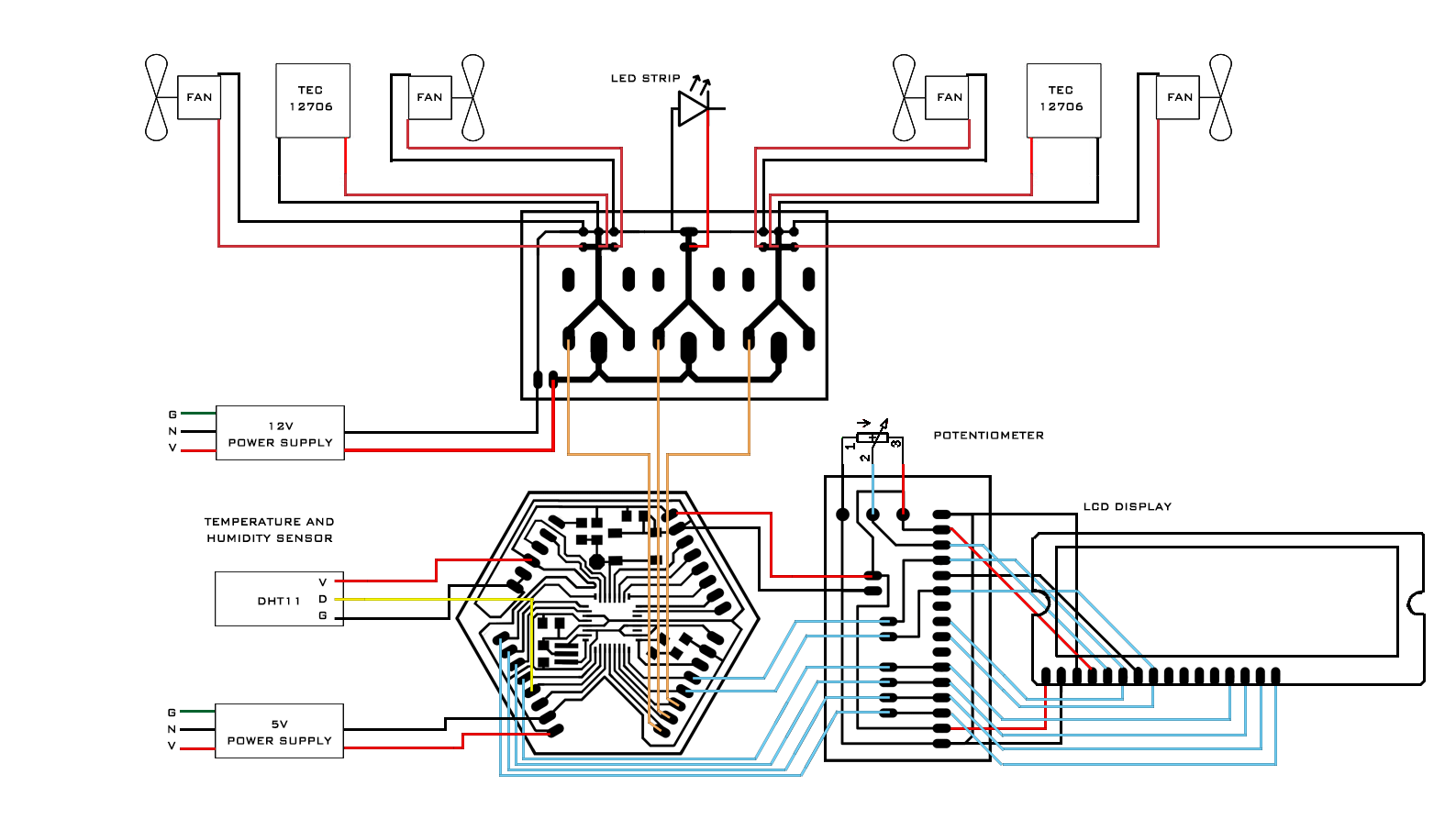 Fab Academy Final Project Hermet Relay Board Diagram Full Layout For Fabduino Connected To Lcd Display Led Strip Dht11 Temperature Humidity Sensor Controlling Heating