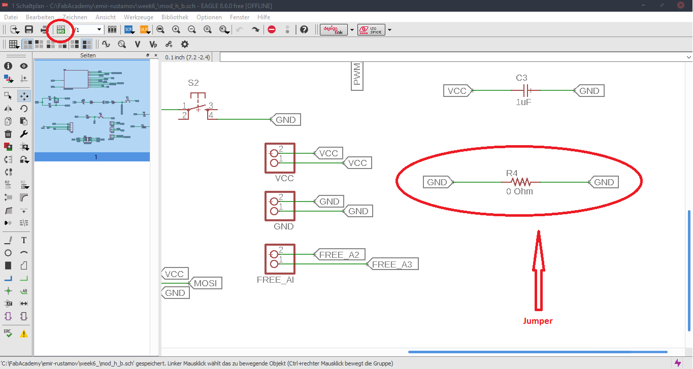Fab Academy For Pcb Design Including Schematic Capture Board Layout And Autorouter Routes To Create The You Have Got An Icon In Bottom Left Corner Can Also Specify Th Thickness Of Above