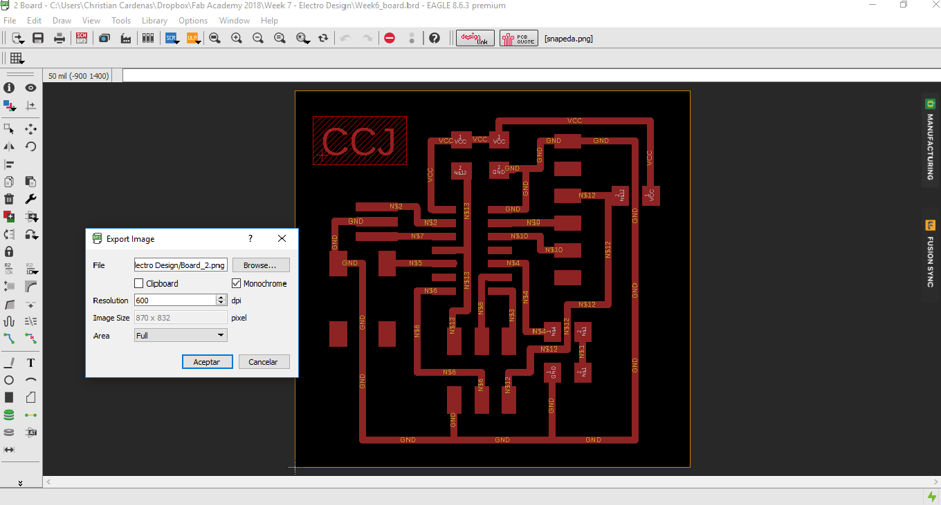 Fab Academy Christian Crdenas Figure 2 Schematic View In Eagle Pcb Software Atom