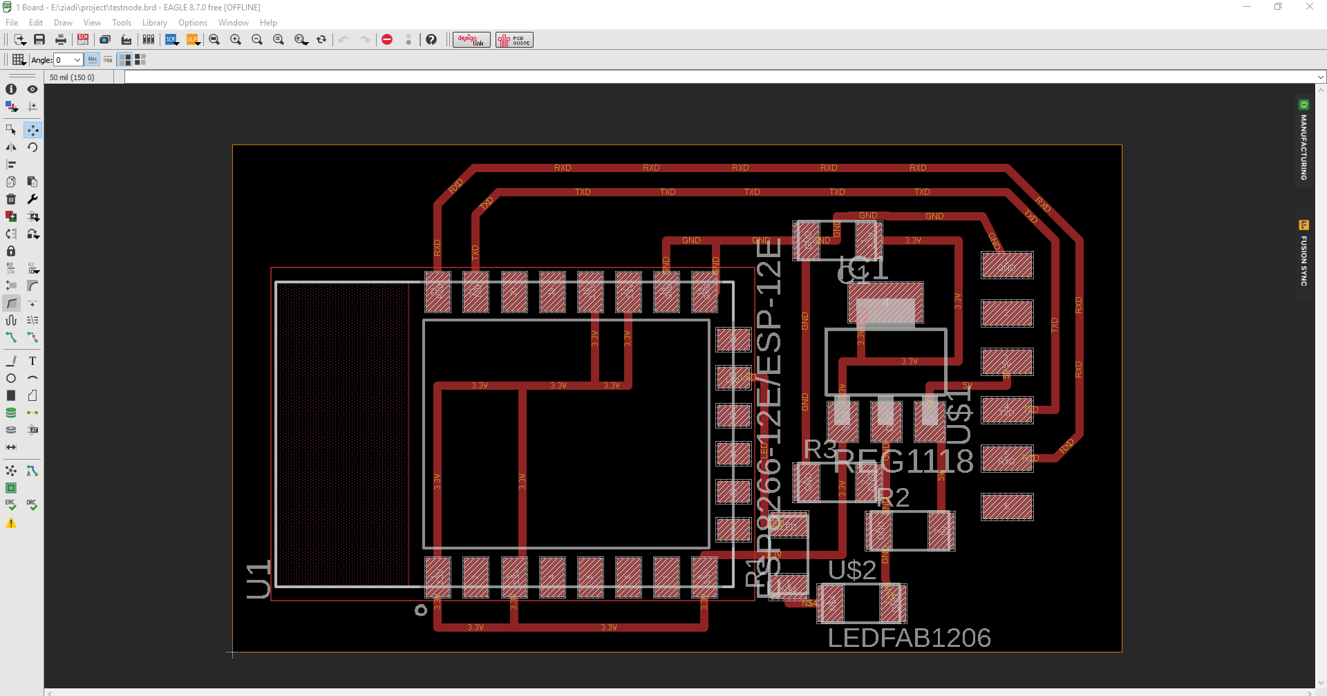 Fabacademy 2018 Nsabimana Ziadi Here Is The Circuit Schematic For Board I Try To Design Ciruit Of Esp 12e In Eagle Software After Generate Order Print Pcb Complete My Weekly