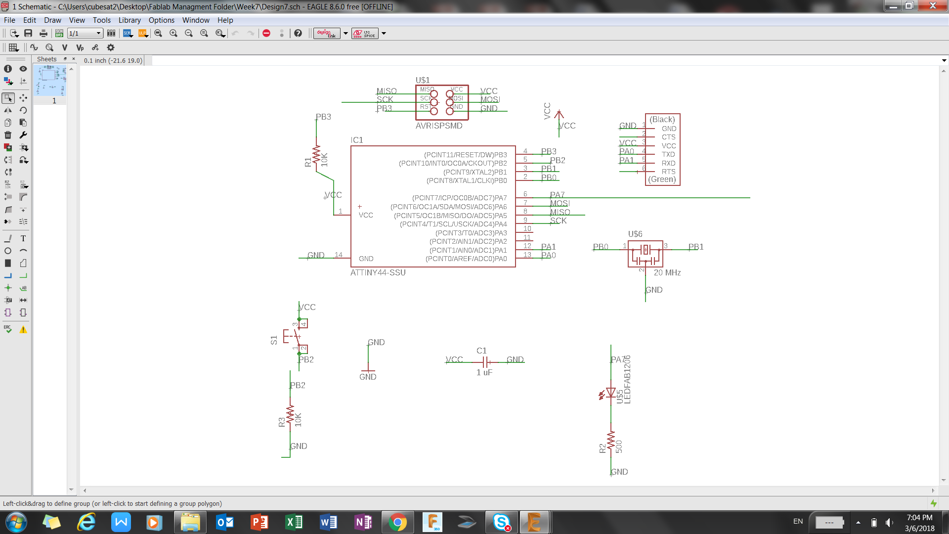 Week 7 Pcb Design Schematic With The Completed Next Step Was To Move From Eagle Tool Bar Switch Board Button Selected