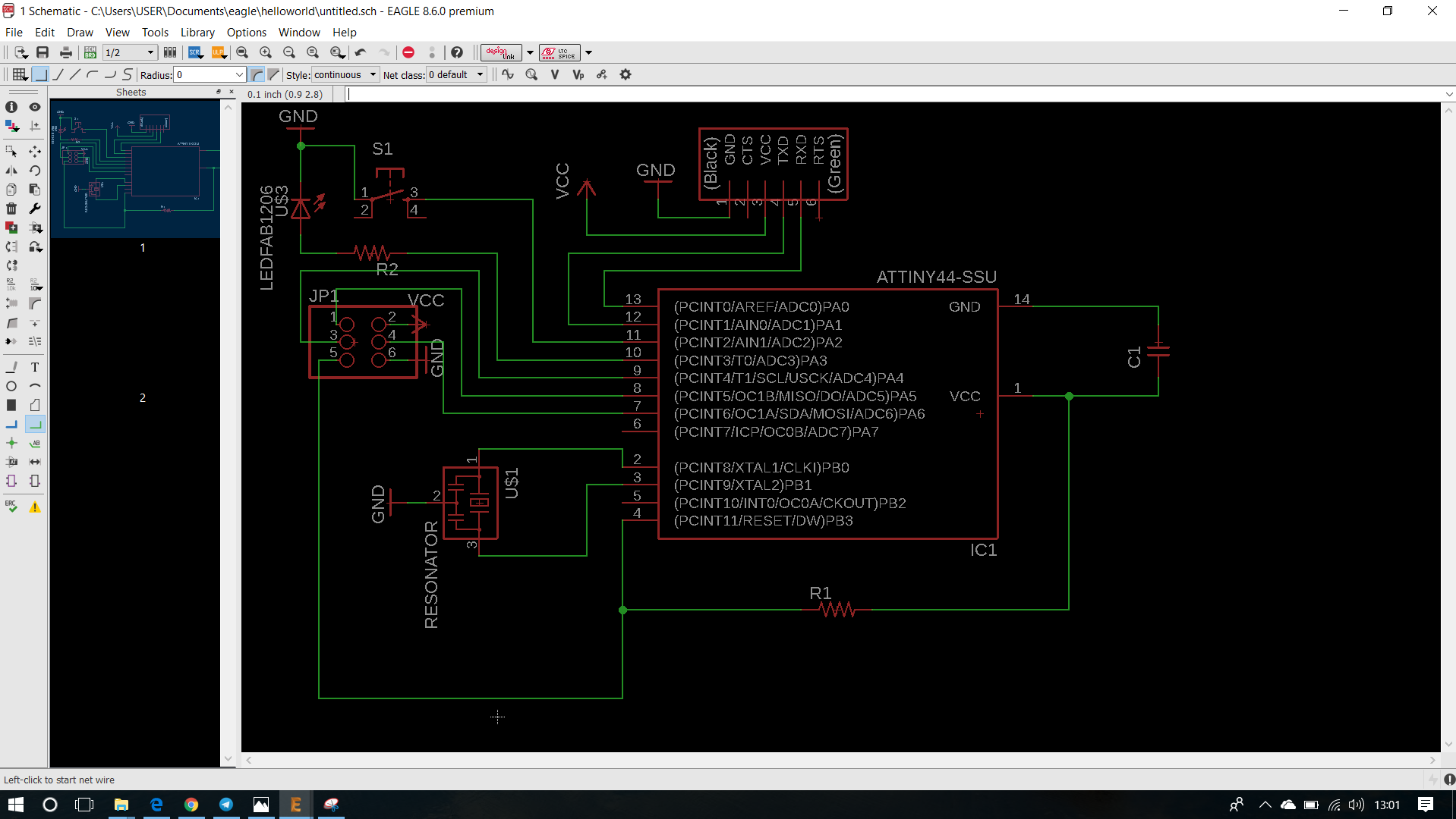Week 7 Electronics Design Electronic Schematic Drawing Software After Completing The Circuit Check For Any Erc Errors And Then Switch To Board View