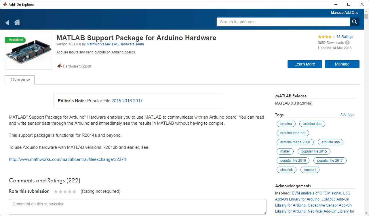 Download matlab support package for arduino hardware