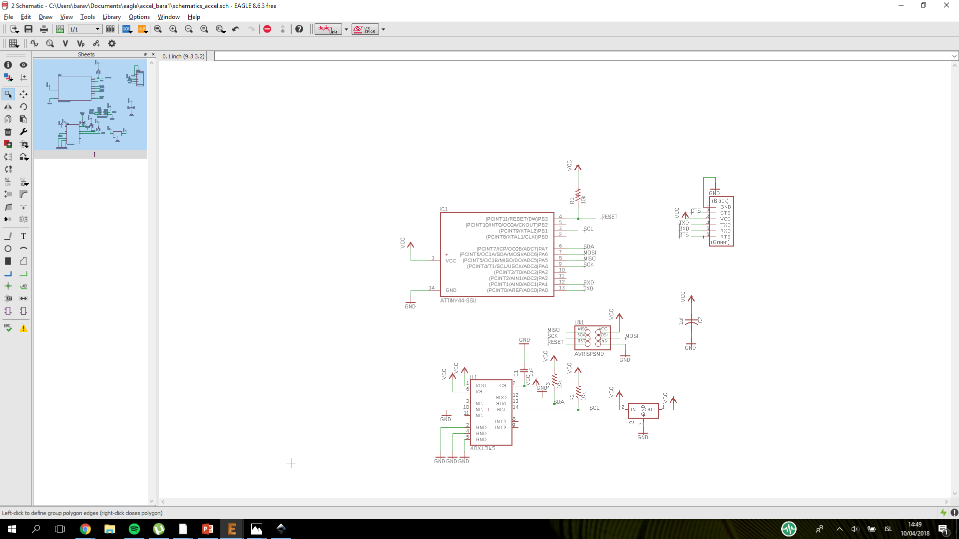 Week 12 Accelerometer Circuitschematic I Used The Smalles Tooth 001 And Board Came Out Good Now Comes To Hard Part Soldering It Took Some Time But Managed