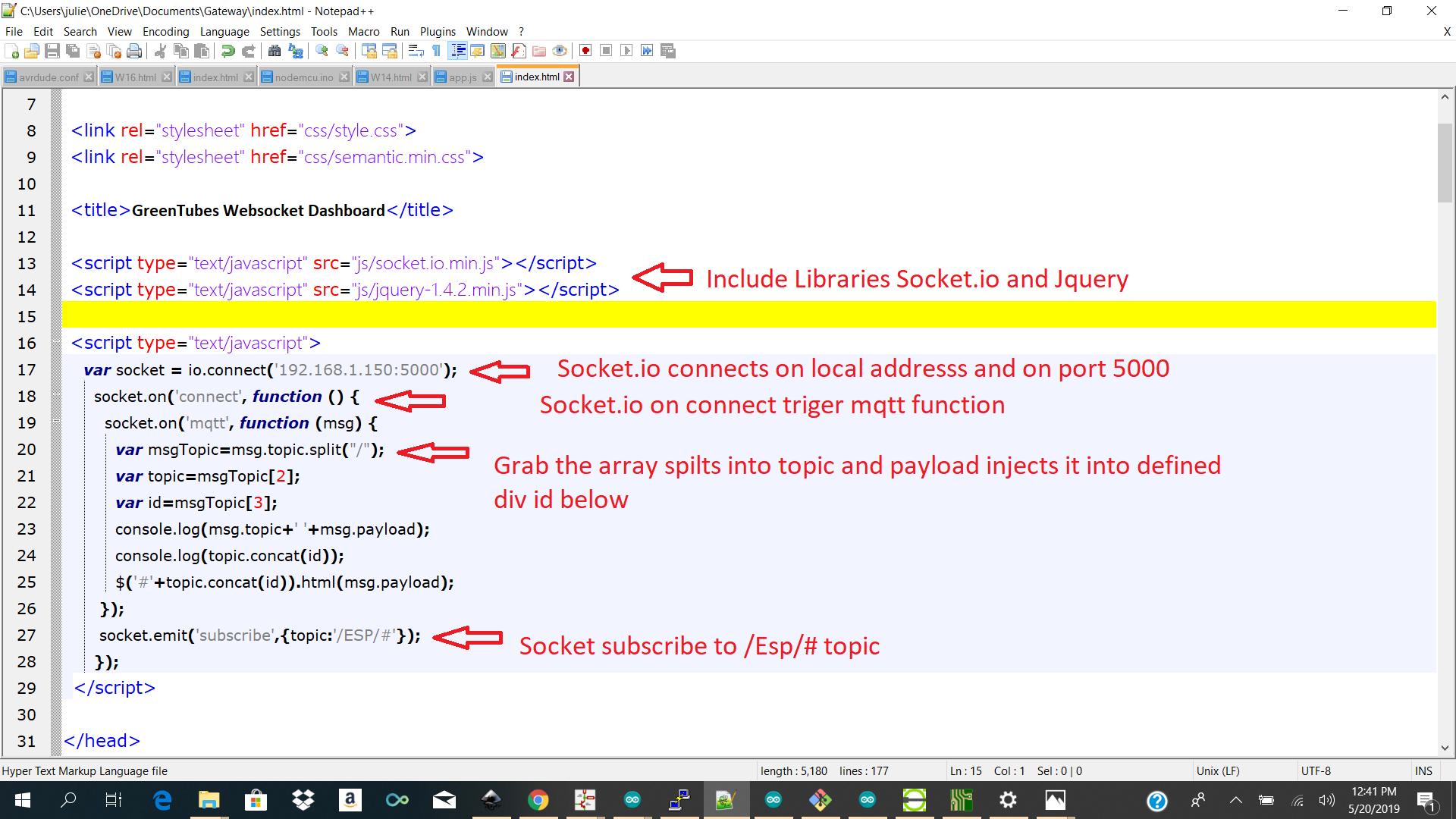 Programming the Gui / Dashboard / Nodejs / Mqtt