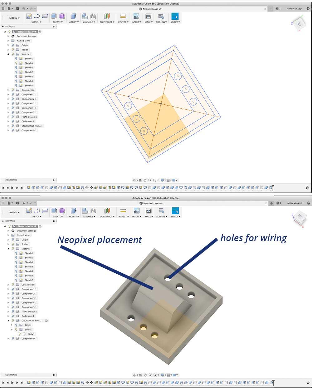 bottom neopixel connector