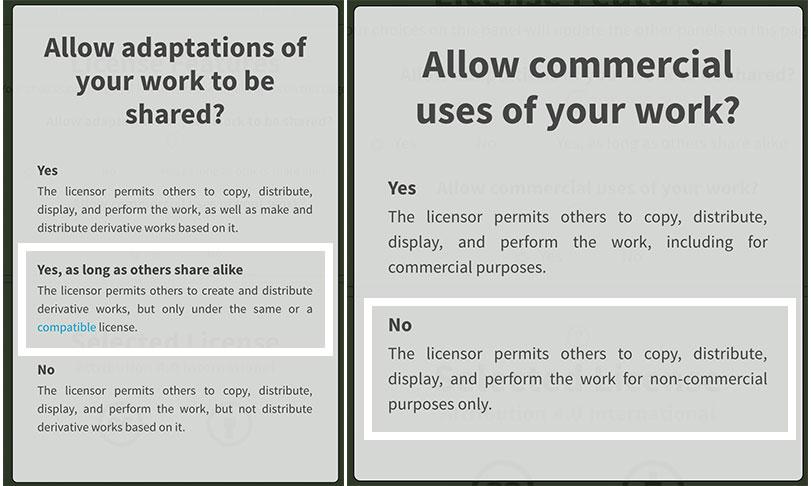 Options Creative commons