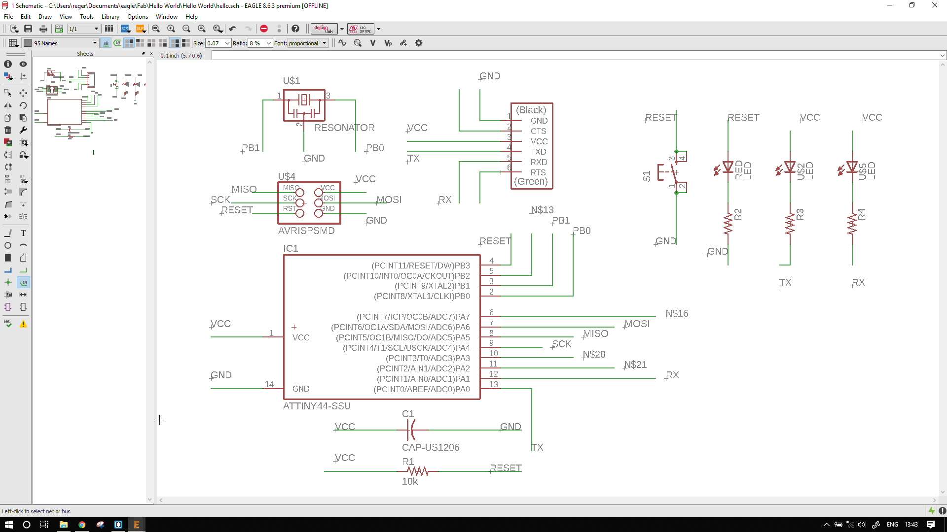 Rohan Rege Fabacademy Border Around The Circuit Image Cut Board To Size Clean Copper Then Naming Them Uniquely This Helps Get A Route And Schematic Verify